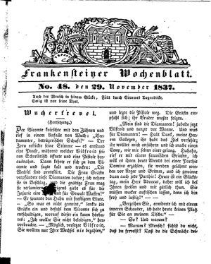Frankensteiner Wochenblatt on Nov 29, 1837