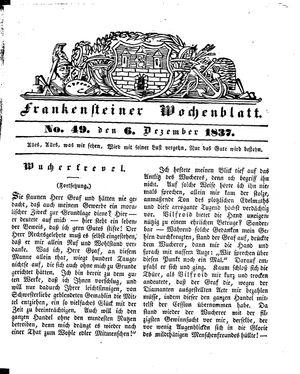 Frankensteiner Wochenblatt vom 06.12.1837