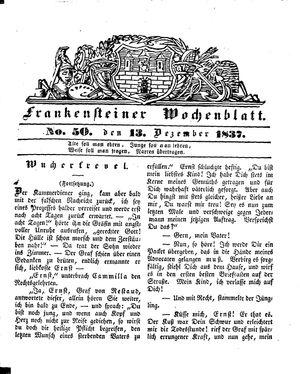 Frankensteiner Wochenblatt vom 13.12.1837