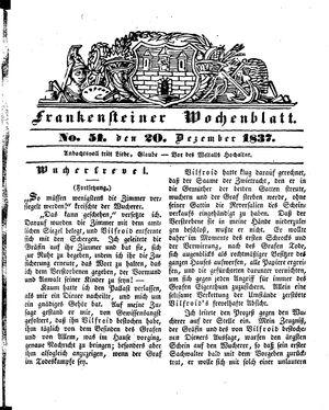Frankensteiner Wochenblatt vom 20.12.1837