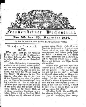 Frankensteiner Wochenblatt vom 27.12.1837