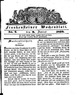 Frankensteiner Wochenblatt vom 09.01.1839