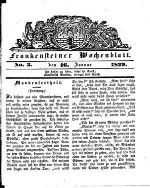 Frankensteiner Wochenblatt vom 16.01.1839