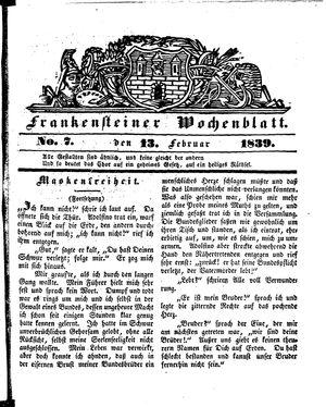 Frankensteiner Wochenblatt vom 13.02.1839