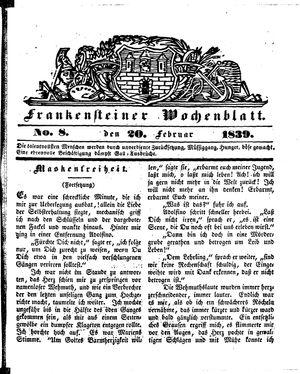Frankensteiner Wochenblatt vom 20.02.1839
