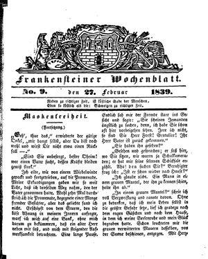 Frankensteiner Wochenblatt vom 27.02.1839
