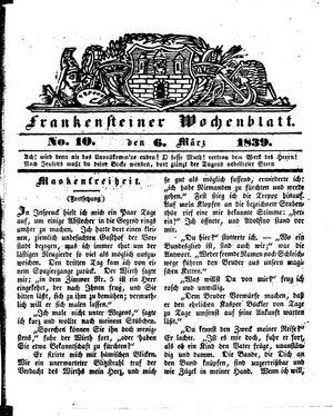 Frankensteiner Wochenblatt vom 06.03.1839