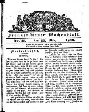 Frankensteiner Wochenblatt vom 13.03.1839