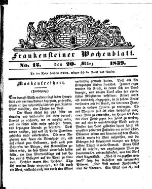 Frankensteiner Wochenblatt vom 20.03.1839