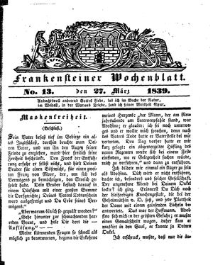 Frankensteiner Wochenblatt vom 27.03.1839