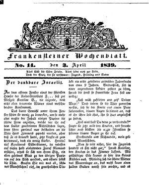 Frankensteiner Wochenblatt on Apr 3, 1839