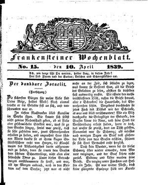 Frankensteiner Wochenblatt vom 10.04.1839