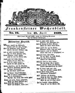 Frankensteiner Wochenblatt vom 17.04.1839