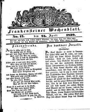 Frankensteiner Wochenblatt vom 25.04.1839