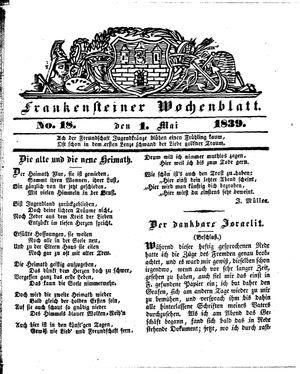 Frankensteiner Wochenblatt on May 1, 1839