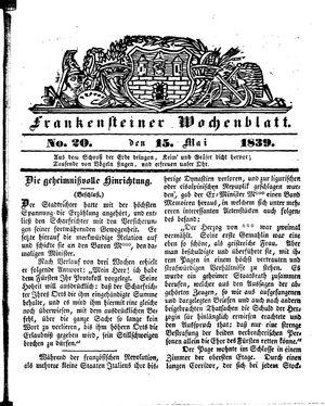 Frankensteiner Wochenblatt vom 15.05.1839
