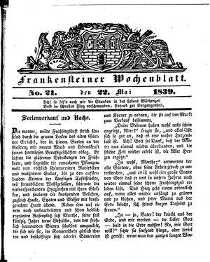 Frankensteiner Wochenblatt vom 22.05.1839