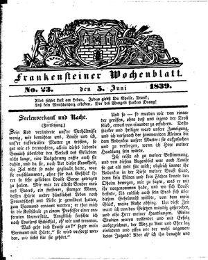 Frankensteiner Wochenblatt vom 05.06.1839
