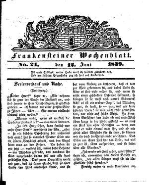 Frankensteiner Wochenblatt vom 12.06.1839