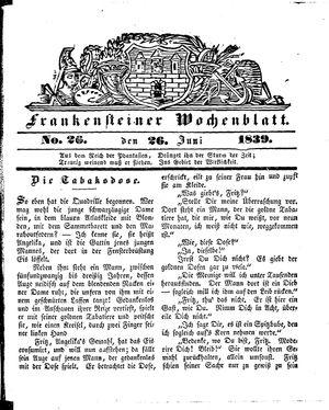 Frankensteiner Wochenblatt vom 26.06.1839