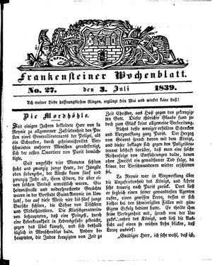Frankensteiner Wochenblatt vom 03.07.1839