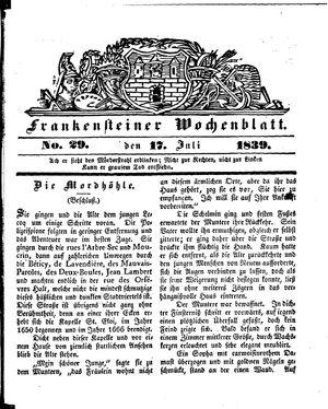 Frankensteiner Wochenblatt vom 17.07.1839