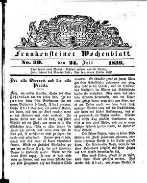 Frankensteiner Wochenblatt vom 24.07.1839