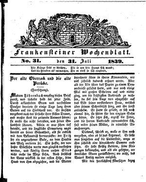 Frankensteiner Wochenblatt vom 31.07.1839