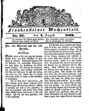Frankensteiner Wochenblatt vom 07.08.1839