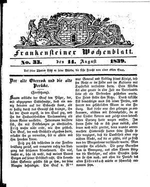 Frankensteiner Wochenblatt on Aug 14, 1839