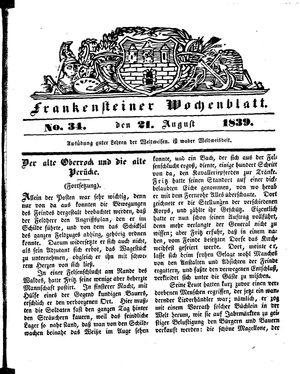 Frankensteiner Wochenblatt vom 21.08.1839