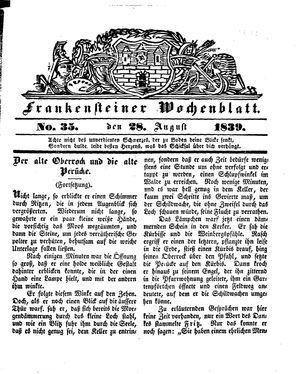 Frankensteiner Wochenblatt vom 28.08.1839