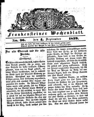 Frankensteiner Wochenblatt vom 04.09.1839