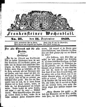 Frankensteiner Wochenblatt vom 11.09.1839