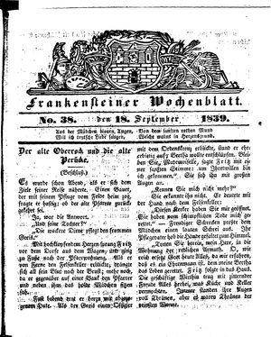 Frankensteiner Wochenblatt on Sep 18, 1839