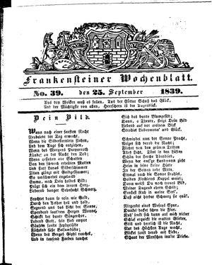 Frankensteiner Wochenblatt vom 25.09.1839