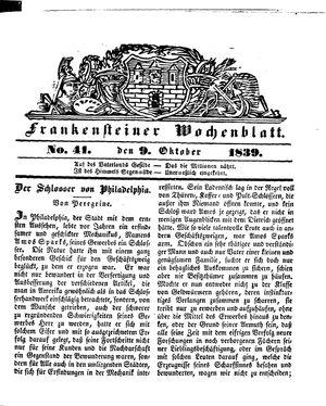 Frankensteiner Wochenblatt vom 09.10.1839