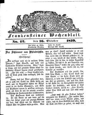 Frankensteiner Wochenblatt on Oct 16, 1839