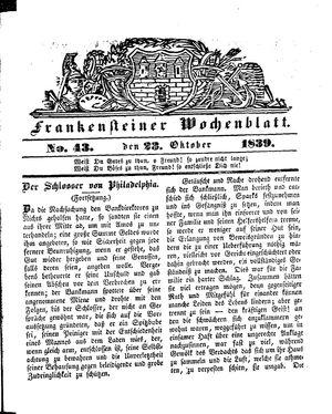Frankensteiner Wochenblatt vom 23.10.1839