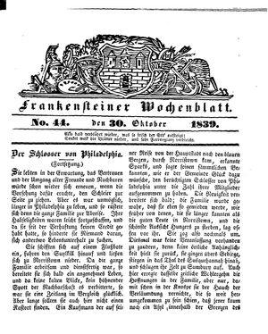 Frankensteiner Wochenblatt on Oct 30, 1839