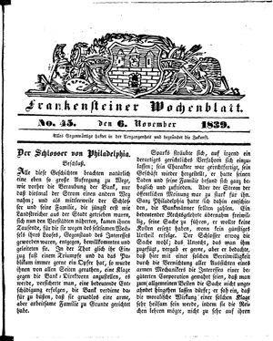 Frankensteiner Wochenblatt on Nov 6, 1839