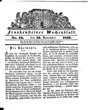 Frankensteiner Wochenblatt vom 13.11.1839