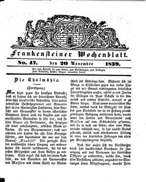 Frankensteiner Wochenblatt vom 20.11.1839