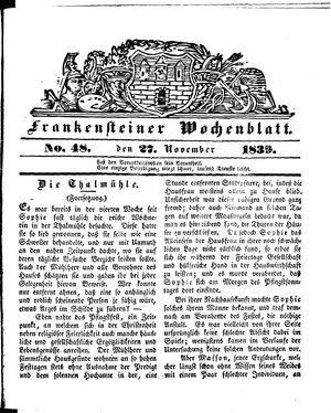 Frankensteiner Wochenblatt vom 27.11.1839