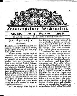 Frankensteiner Wochenblatt vom 04.12.1839
