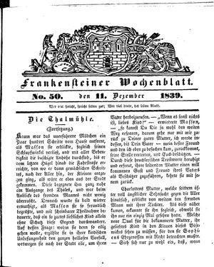 Frankensteiner Wochenblatt vom 11.12.1839