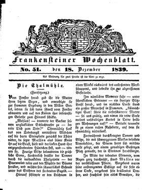 Frankensteiner Wochenblatt on Dec 18, 1839