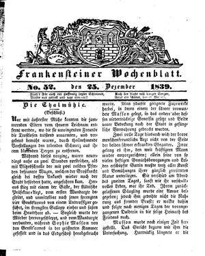 Frankensteiner Wochenblatt vom 25.12.1839