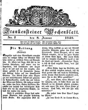Frankensteiner Wochenblatt vom 08.01.1840