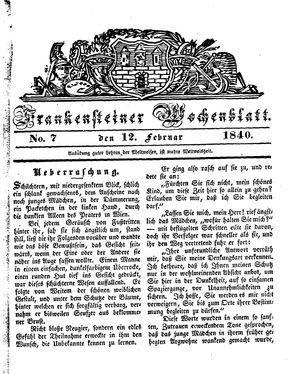 Frankensteiner Wochenblatt vom 12.02.1840